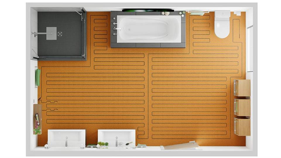 DITRA-HEAT-E ist individuell verlegbar – für ganze Räume oder einzelne Barfuß-Zonen.